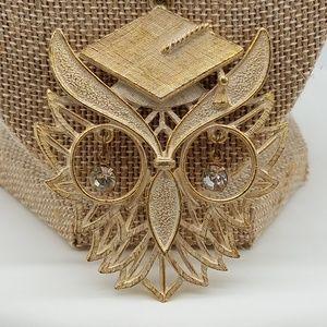 RAFAELIAN VINTAGE OWL NECKLACE GOLD TONED
